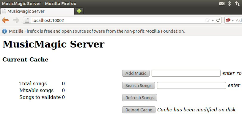 MusicIP Browser Reload Cache